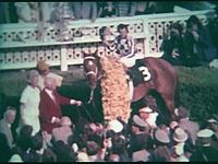 Secretariat in the winner's circle after the Preakness, with Ron Turcotte, Lucien Laurin, Eddie Sweat and Penny Chenery (then Tweedy)