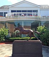 The Secretariat statue at the National Museum of Racing and Hall of Fame in Saratoga Springs, New York