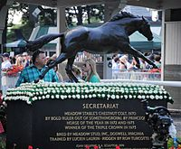 The Secretariat statue at Belmont Park is draped in white carnations each year for the Belmont Stakes