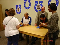 Tony Dungy and Nathan Whitaker at the book-signing of Quiet Strength at Fort Wayne, Indiana on July 15, 2007