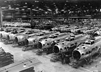 Boeing B-17E Flying Fortress bombers under construction, circa1942