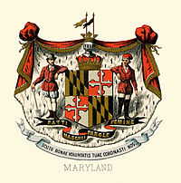 The historical coat of arms of Maryland in 1876