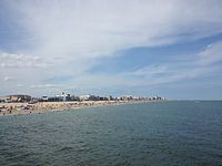 The beach resort town of Ocean City along the Atlantic Ocean is a popular tourist destination in Maryland.