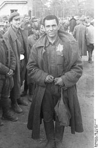 Jewish-Soviet POWs marked with yellow badges. August 1941