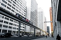 The Detroit People Mover(DPM) elevated railway in Downtown Detroit