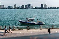 A Detroit Police boat.