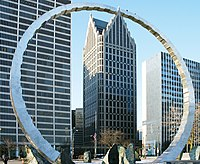 Ally Detroit Center and the Michigan Labor Legacy Monument
