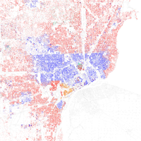 Map of racial distribution in Detroit, 2010 U.S. Census. Each dot is 25 people: White, Black, Asian , Hispanic or Other (yellow)