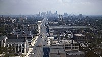 Detroit at its population peak in the mid-20th century. Looking south down Woodward Avenue from the Maccabees Building with the city's skyline in the distance.