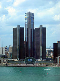 The Renaissance Center, home of the world headquarters of General Motors and the second tallest hotel in the Western Hemisphere, is located along the Detroit International Riverfront