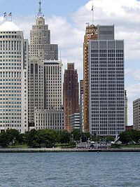 The Detroit Financial District viewed from the Detroit River