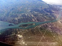 An aerial photograph of Detroit and Windsor