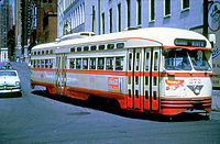 An electric streetcar in Detroit, 1953