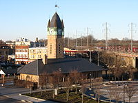 CNJ's former Elizabeth Broad Street train station, completed in 1893 or 1894, with the current NJT station in the background