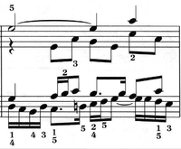 """A bar from J.S. Bach's """"Fugue No.17 in A flat"""", BWV 862, from Das Wohltemperierte Clavier (Part I), an example of contrapuntal polyphony. The two parts, or voices, on each staff may be distinguished by the direction of the stems.,, , & separately."""