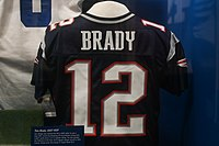 A game-worn jersey of Brady's in the Pro Football Hall of Fame.