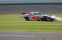 Sorenson in his 2006 Busch Series car after his car hit the wall.
