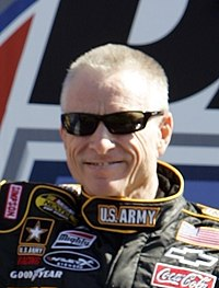 Mark Martin (pictured in 2007) became the oldest pole sitter in Daytona 500 history at 51 years old at 27 days by posting the fastest lap in qualifying.