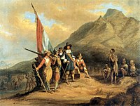 Charles Davidson Bell's 19th-century painting of Jan van Riebeeck, who founded the first European settlement in South Africa, arrives in Table Bay in 1652