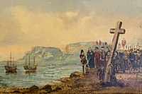 Portuguese explorer Bartolomeu Dias planting the cross at Cape Point after being the first to successfully round the Cape of Good Hope.