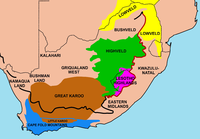 Important geographical regions in South Africa. The thick line traces the course of the Great Escarpment which edges the central plateau. The eastern portion of this line, coloured red, is the Drakensberg. The Escarpment rises to its highest point, at over 3000 m, where the Drakensberg forms the border between KwaZulu-Natal and Lesotho. None of the regions indicated on the map has a well-defined border, except where the Escarpment or a mountain range forms a clear dividing line between regions. Some of the better-known regions are coloured in; the others are simply indicated by their names.