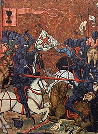 Battle between Protestant Hussites and Catholic crusaders during the Hussite Wars; Jena Codex, 15th century