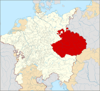 The Crown of Bohemia within the Holy Roman Empire (1600). The Czech lands were part of the Empire in 1002–1806, and Prague was the imperial seat in 1346–1437 and 1583–1611.