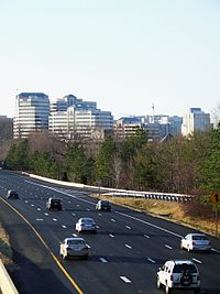 Reston, an internationally known planned community, seen from the Dulles Toll Road