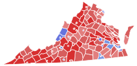 Counties and cities in red voted for McDonnell while counties and cities in blue supported Deeds. The counties of Fairfax, Loudoun, Prince William (located in the northeastern part of the state), which, even though they have been trending Democratic in Presidential, U.S. Senatorial, U.S. House, and gubernatorial elections recently, voted for McDonnell (R). However Democrat Dave Marsden would win in a 2010 special state senate election to the seat previously held by former state Attorney General Ken Cuccinelli (R).