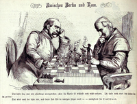 Tensions between Germany and the Catholic Church hierarchy as depicted in a chess game between Bismarck and Pope Pius IX. Between Berlin and Rome, Kladderadatsch, 1875