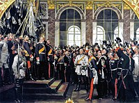 Die Proklamation des Deutschen Kaiserreiches by Anton von Werner (1877), depicting the proclamation of Kaiser Wilhelm (18 January 1871, Palace of Versailles). From left, on the podium (in black): Crown Prince Frederick (later Frederick III), his father Emperor Wilhelm I, and Frederick I of Baden, proposing a toast to the new emperor. At centre (in white): Otto von Bismarck, first Chancellor of Germany, Helmuth von Moltke the Elder, Prussian Chief of Staff.