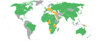 Map of the world showing the participants in World War I. Those fighting on the Entente's side (at one point or another) are depicted in green, the Central Powers in orange, and neutral countries in grey.