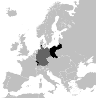 German territories lost in both World Wars are shown in black, while present-day Germany is marked dark grey on this 1914 map.