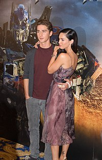LaBeouf with co-star Megan Fox at the Transformers press conference in Paris in June 2009