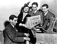 Berlin with film stars Alice Faye, Tyrone Power and Don Ameche singing chorus from Alexander's Ragtime Band (1938)