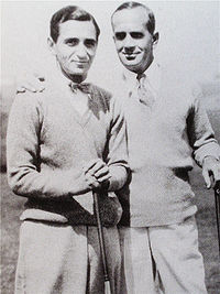 With Al Jolson (r), star of The Jazz Singer, c. 1927