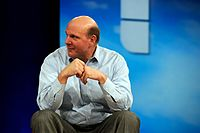 CEO Steve Ballmer at the MIX event in 2008. In an interview about his management style in 2005, he mentioned that his first priority was to get the people he delegates to in order. Ballmer also emphasized the need to continue pursuing new technologies even if initial attempts fail, citing the original attempts with Windows as an example.