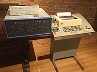 An Altair 8800 computer (left) with the popular Model 33 ASR Teletype as terminal, paper tape reader, and paper tape punch.