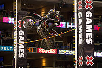 Brian Deegan at X Games 17 in Los Angeles competing in the Moto X Step Up event.