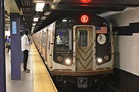 The New York City Subway is the world's largest rapid transit system by length of routes and by number of stations.