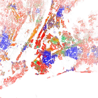 A map of racial distribution in New York, 2010 U.S. Census. Each dot is 25 people: White, Black, Asian , Hispanic or Other (yellow)