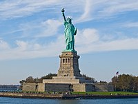 The Statue of Liberty on Liberty Island in New York Harbor is a symbol of the United States and its ideals of freedom, democracy, and opportunity.