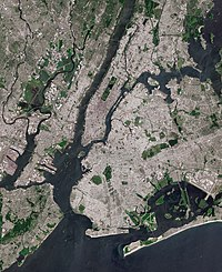 The core of the New York City Metropolitan Area, with Manhattan Island at its center