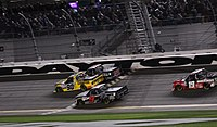 Grant Enfinger (No. 98) beating Jordan Anderson and Codie Rohrbaugh to the finish in the 2020 race