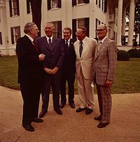 Five Governors of Mississippi in 1976, from left: Ross Barnett, James P. Coleman, William L. Waller, John Bell Williams, and Paul B. Johnson Jr.