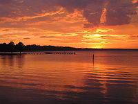 The Ross Barnett Reservoir at sunset