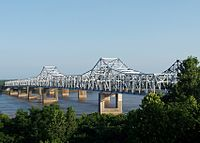 The Vicksburg Bridge carries I-20 and U.S. 80 across the Mississippi River at Vicksburg.