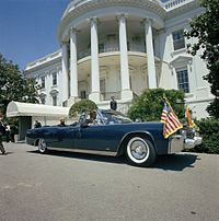 SS-100X (1961 Lincoln Continental convertible) parked in front of White House, June 1963