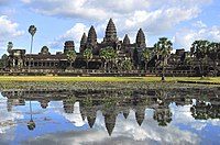 The Hindu-Buddhist temple of Angkor Wat in Cambodia, the largest religious monument in the world