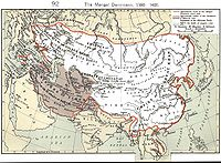 The Mongol Empire at its greatest extent. The gray area is the later Timurid Empire.